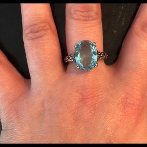 Jewelry - Size 8 925 Stamped SS & Aquamarine Ring NWT